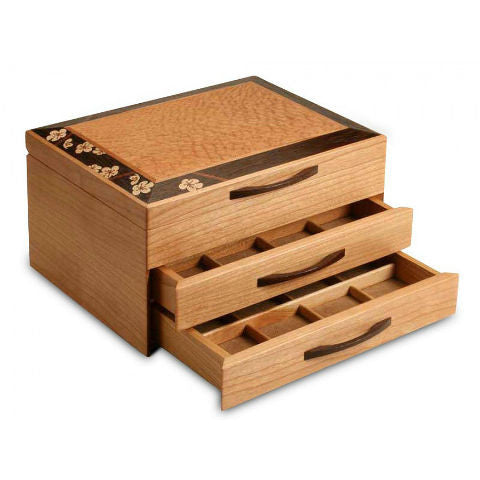 Mike Fisher - Heartwood Creations - Cherry Blossom Two Drawer Jewelry Box