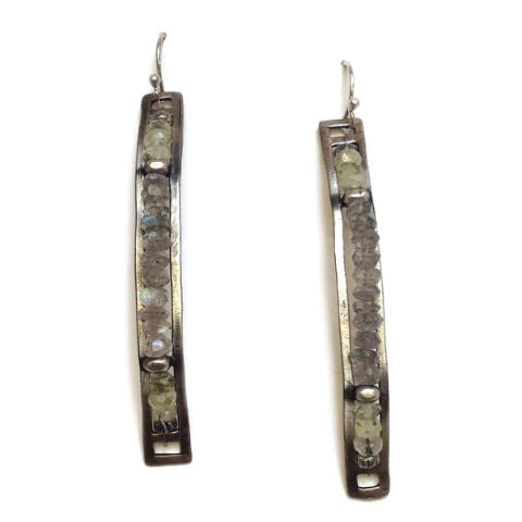 Julia Britell Jewelry - Labradorite Bar Earrings
