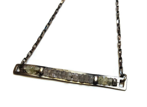 Julia Britell Jewelry - Labradorite Bar Necklace