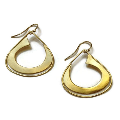 Julia Britell Jewelry - Teardrop Hoop Earrings in Gold