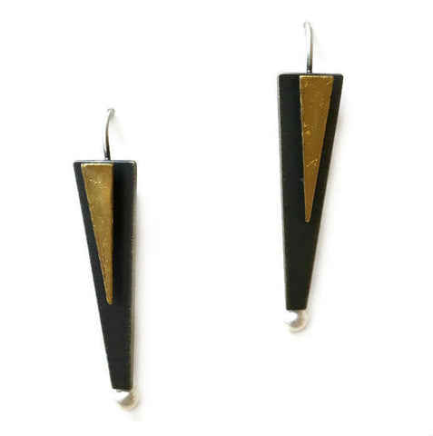 Mar Jewelry - Black and Gold Triangular Earrings