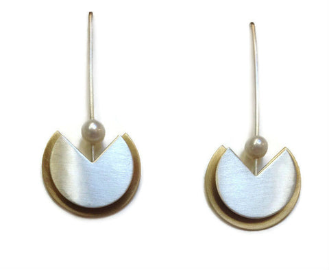 Mar Jewelry - Brushed Sterling and Gold Earrings