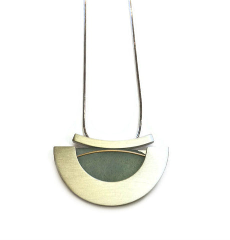 Mar Jewelry - Brushed Sterling and Sea Glass Pendant