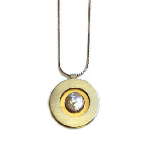 Mar Jewelry - Brushed Sterling Silver and Coin Pearl Pendant