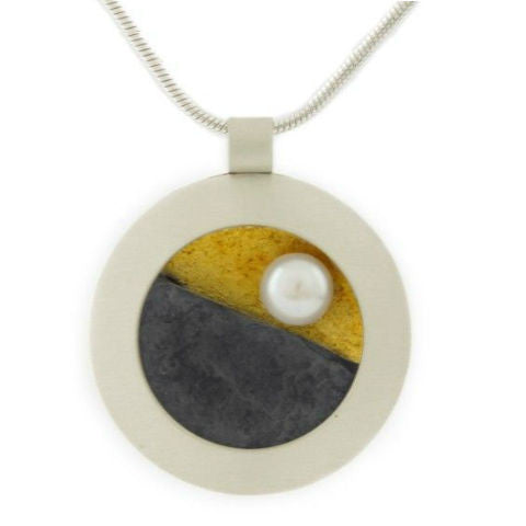 Mar Jewelry - NuGold and Slate Pendant