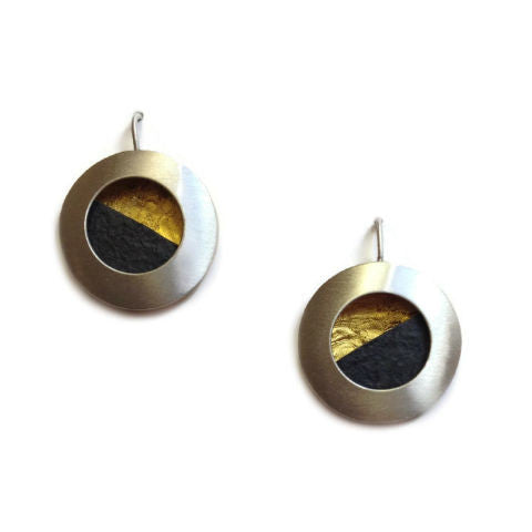Mar Jewelry - Circular Nu-Gold and Slate Earrings