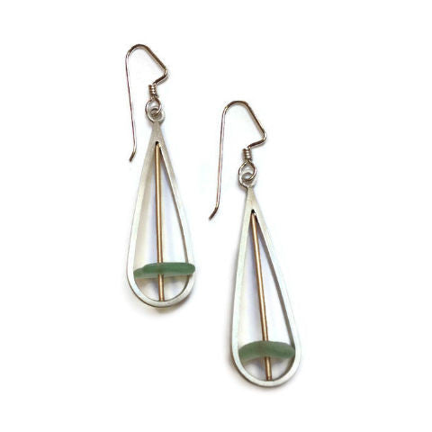 Mar Jewelry - Brushed Sterling Silver and Sea Glass Drop Earrings