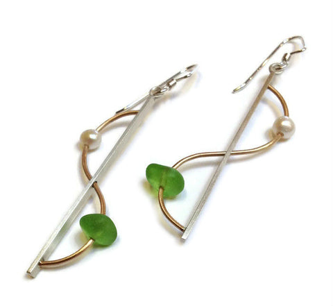 Mar Jewelry - Brushed Sterling Silver and Sea Glass Wave Earrings