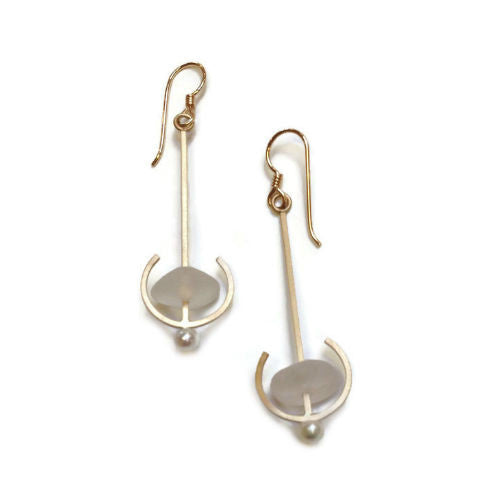 Mar Jewelry - Brushed Nu-Gold and Sea Glass Earrings