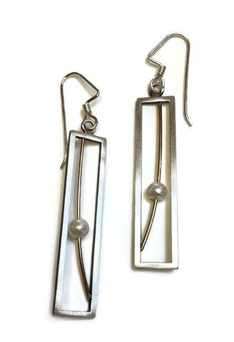 Mar Jewelry - Rectangle Pearl Earrings