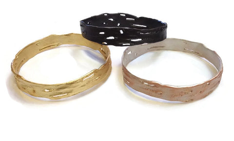 Silver Seasons - Michael Michaud - Birch Bark Bangle in Dark Bronze