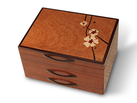 Mike Fisher - Heartwood Creations - Moon Flowers 2 Drawer Jewelry Box