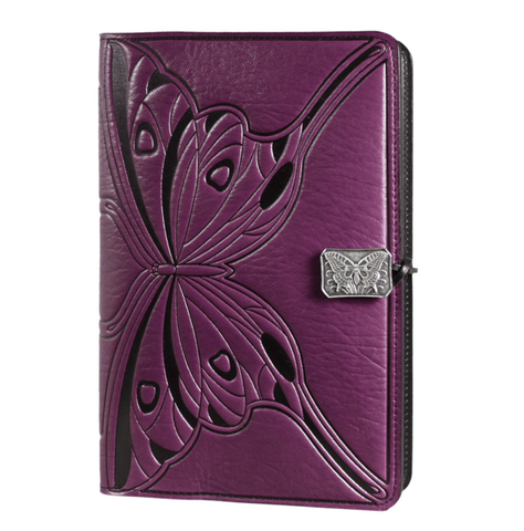 Oberon Design - Butterfly Small Refillable Leather Journal