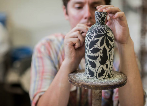 Oxide Pottery - Dark Botanical Bottle Vase