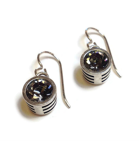 Patricia Locke Jewelry - Slotted Classic Earrings in Black Diamond Crystal