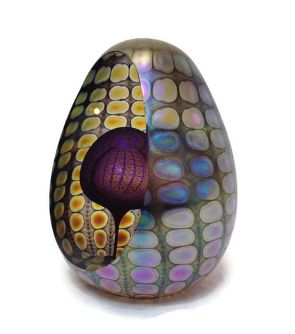 Philabaum Glass - Faceted Reptilian Egg Paperweight in Purple