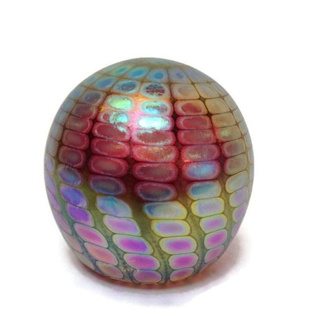 Philabaum Glass - Faceted Reptilian Paperweight in Ruby