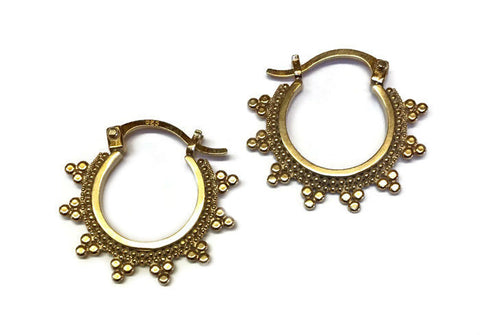 Sasha Bell Jewelry - Small Tribal Hoop Earrings in Gold