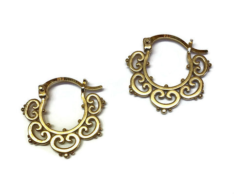 Sasha Bell Jewelry - Small Ornate Tribal Hoop Earrings in Gold