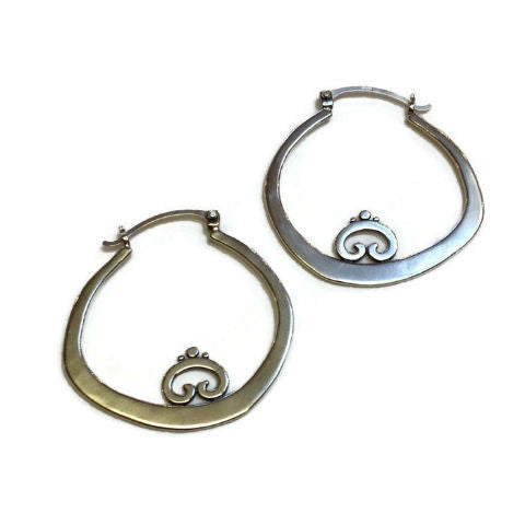 Sasha Bell Jewelry - Bent Hoop Swirl Earrings