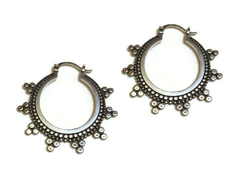 Sasha Bell Jewelry - Large Tribal Hoop Earrings