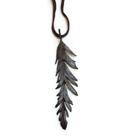 Silver Seasons - Michael Michaud - Long Feather Pendant in Bronze