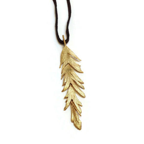 Silver Seasons - Michael Michaud - Long Feather Pendant in Gold