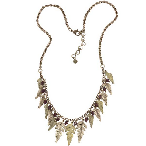 Silver Seasons by Michael Michaud - Fern Necklace with Garnets