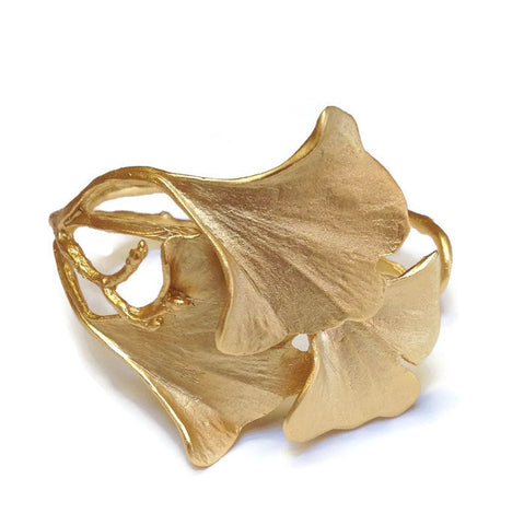 Silver Seasons - Michael Michaud - Ginkgo Cuff Bracelet in Gold