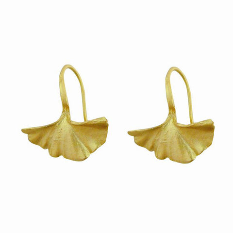 Silver Seasons by Michael Michaud - Small Gold Gingko Earrings