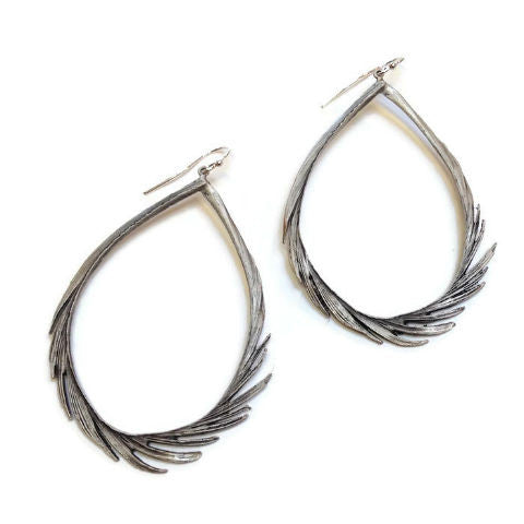 Silver Seasons - Michael Michaud - Large Feather Teardrop Earrings in Silver