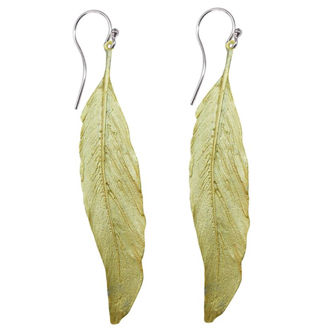 Silver Seasons - Michael Michaud - Long Feather Earrings in Gold
