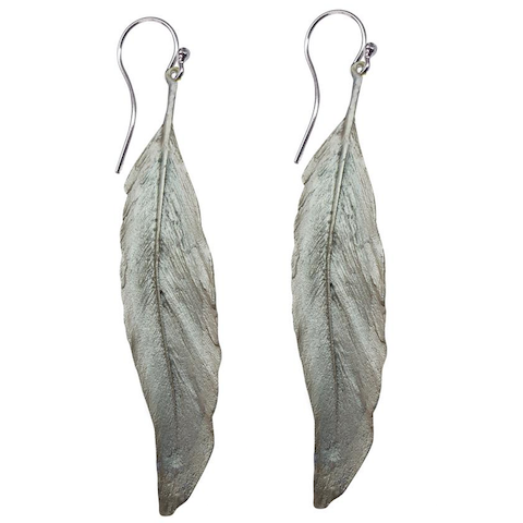 Silver Seasons - Michael Michaud - Long Feather Earrings in Silver