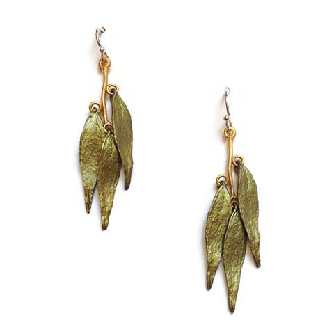 Silver Seasons - Michael Michaud - Weeping Willow Triple Leaf Earrings