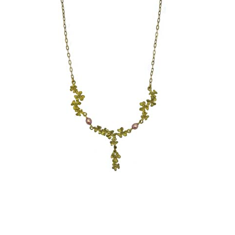 Silver Seasons by Michael Michaud - Pink Pearl Clover Petite Necklace