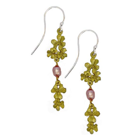 Silver Seasons by Michael Michaud - Pink Pearl Clover Earrings