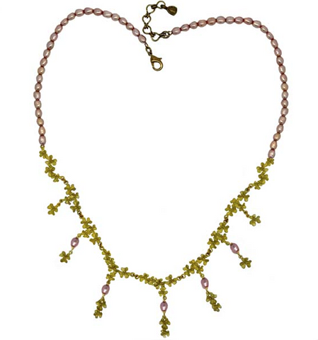 Silver Seasons by Michael Michaud - Pink Pearl Clover Necklace