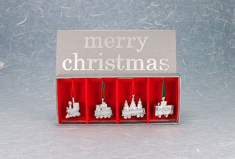 Vilmain Pewter Co. - Christmas Train Ornament Set