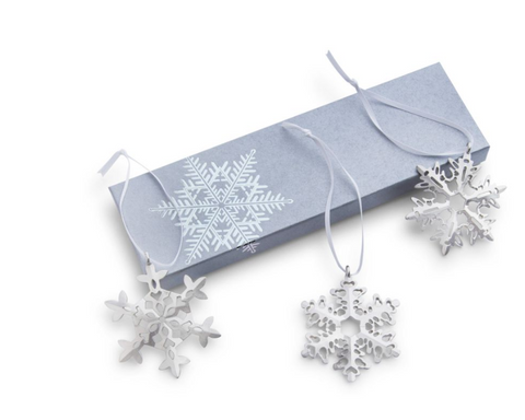 Vilmain Pewter - Snowflake Trio Ornament Set