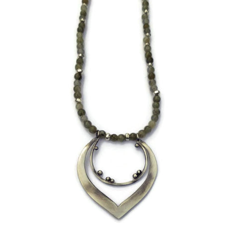 Julia Britell Jewelry - Double Hoop Pendant on Labradorite