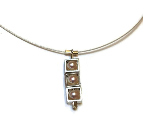 Kenneth Pillsworth Jewelry - Squares Pearl Spinner Pendant