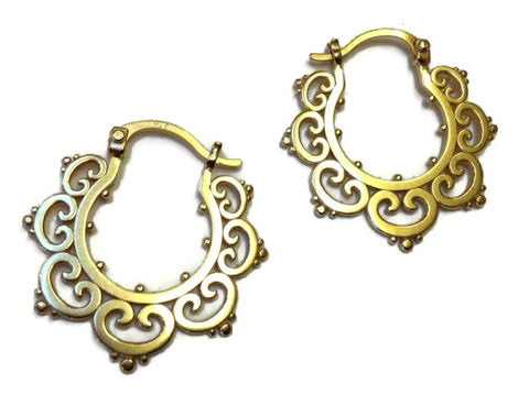 Sasha Bell Jewelry - Medium Ornate Tribal Hoop Earrings in Gold