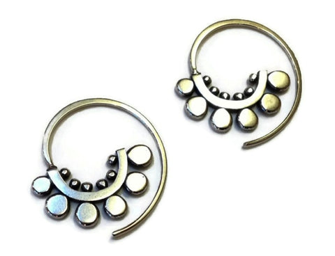 Sasha Bell Jewelry - Small Sunflower Spiral Hoop Earrings