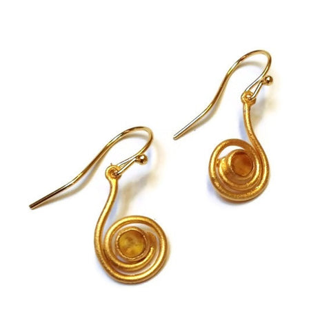 Michael Vincent Michaud Jewelry- Orange Swirl Earrings