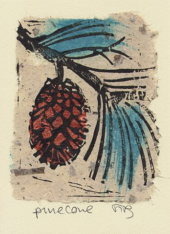 Salmonberry Studio - Pinecone Note Card