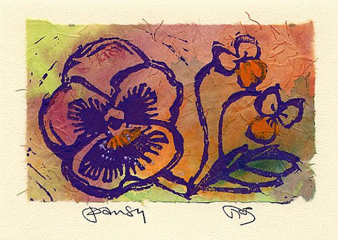 Salmonberry Studio - Pansy Note Card