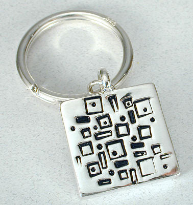 Vilmain Pewter - Rectangles Key Ring in Sterling Silver