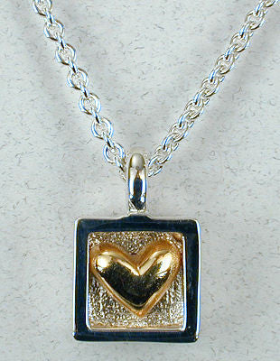 Vilmain Pewter - Gold Heart Necklace in Sterling Silver
