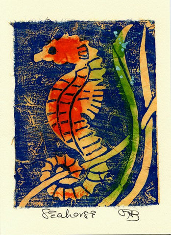 Salmonberry Studio Seahorse Note Card