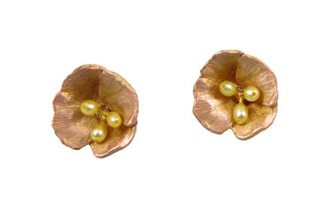 Silver Seasons - Michael Michaud - California Poppy Post Earrings